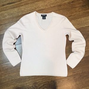Lord & Taylor 100% Cashmere V-Neck Sweater Blush